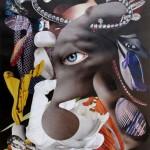 """""""Der schwarze Ring"""" 2017"""" aus der Serie """"Nachtfalter"""" Collage 27,8 x 20 cm"""
