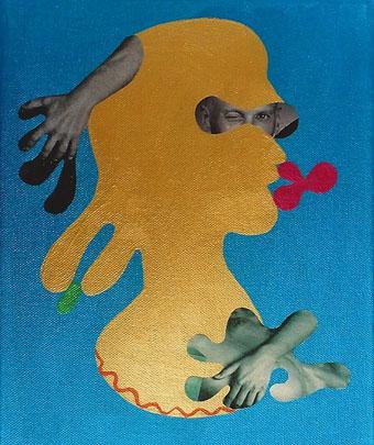 """Anna Staffel aus der Serie ASenti: """"Der Goldjunge"""" 2005 Acryl. Scherenschnitt auf Leinwand 30 x 24 cm"""