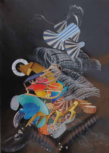 """""""Spanische Treppe"""" 2017 aus der Serie """"Nachtfalter"""" Collage 30 x 21 cm"""