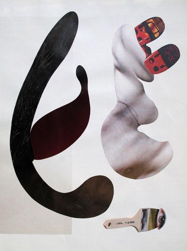 """""""Der Trieb des Malers"""" 2017 aus der Serie """"Nachtfalter"""" Collage 28 x 21 cm"""
