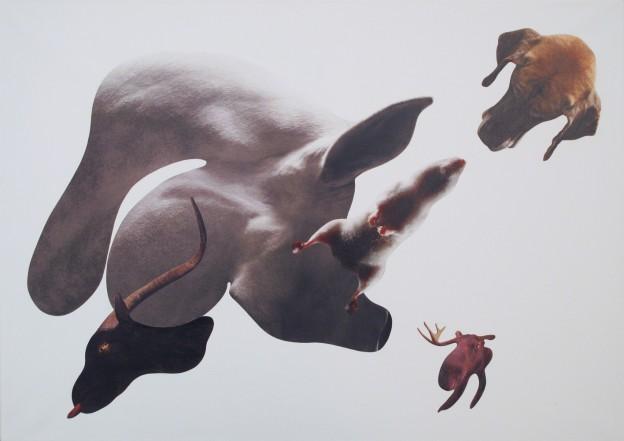 Anna Staffel - Elch - 2012 - Acryl, Scherenschnitt auf Leinwand - 50 x 70 cm