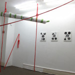 Installation Bergungsarbeit I, Intervention with a red rope, Tatorte I - IV